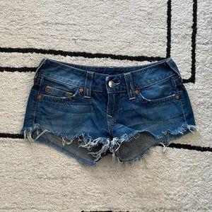 TRUE RELIGION Medium Wash Low Waist Cheeky Shorts